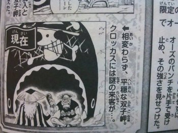 ONE PIECE D (2).jpgゴールDロジャーのラフテルまでの詳細な航路は完全には不明ですが、空島などへは確実に訪問したことが、書かれていたりしている場所など、本編でもいろいろと明らかになっています。64巻631話の扉絵シリーズで、海賊王の船医クロッカスと、後ろ姿ですが、編笠の人間が酒を酌み交わしているところが写っています(場所はラブーンがいる双子岬です)。